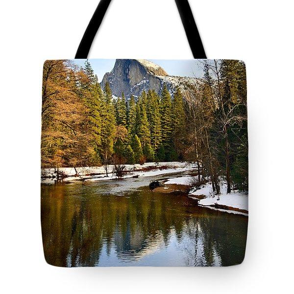 Winter View Of Half Dome In Yosemite National Park. Tote Bag