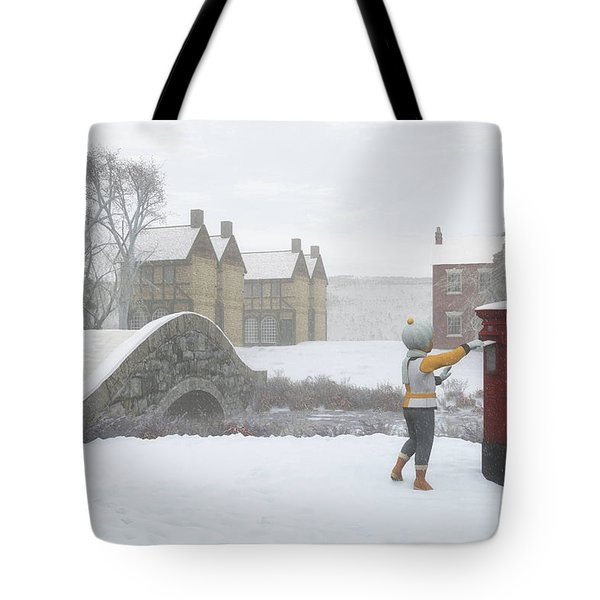 Winter Village With Postbox Tote Bag