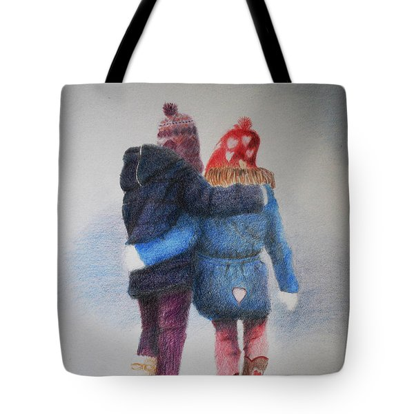 Tote Bag featuring the drawing Winter Walk by Lynn Hughes