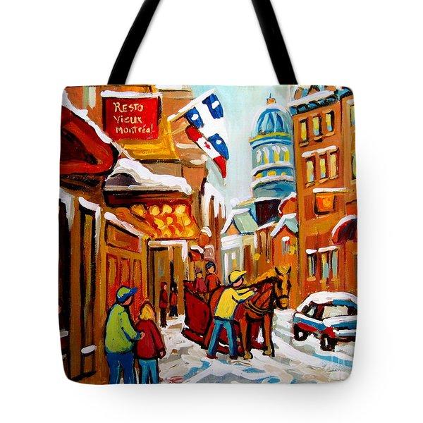 Winter Walk Montreal Tote Bag by Carole Spandau