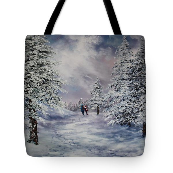 Tote Bag featuring the painting Winter Walk On Cannock Chase by Jean Walker