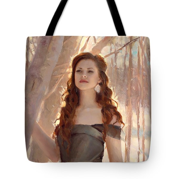Winter Warmth - Figure In The Landscape Tote Bag by Karen Whitworth