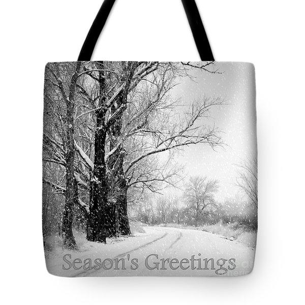 Winter White Season's Greetings Tote Bag by Carol Groenen