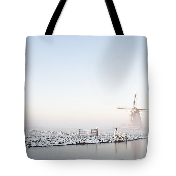 Winter Windmill Landscape In Holland Tote Bag