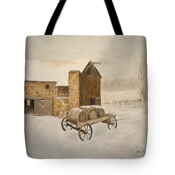 Tote Bag featuring the painting Winter Wine by Alan Lakin