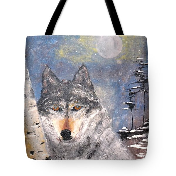 Tote Bag featuring the painting Winter Wolf by Denise Tomasura