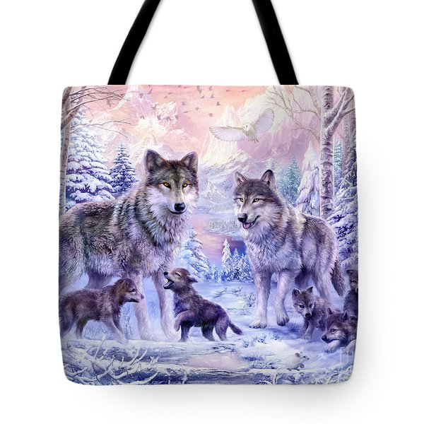 Winter Wolf Family  Tote Bag