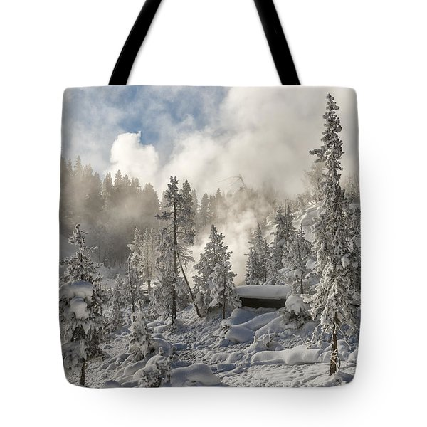 Winter Wonderland - Yellowstone National Park Tote Bag by Sandra Bronstein