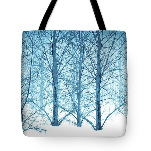 Winter Woodland In Blue Tote Bag