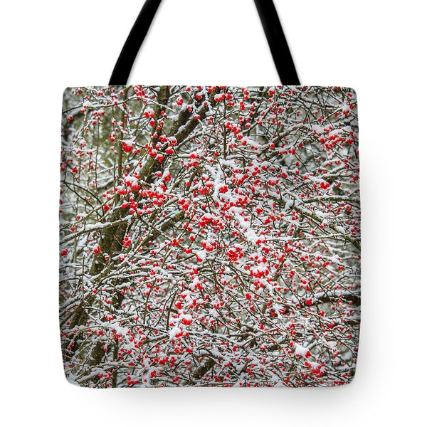 Winterberry During A Snowfall Tote Bag