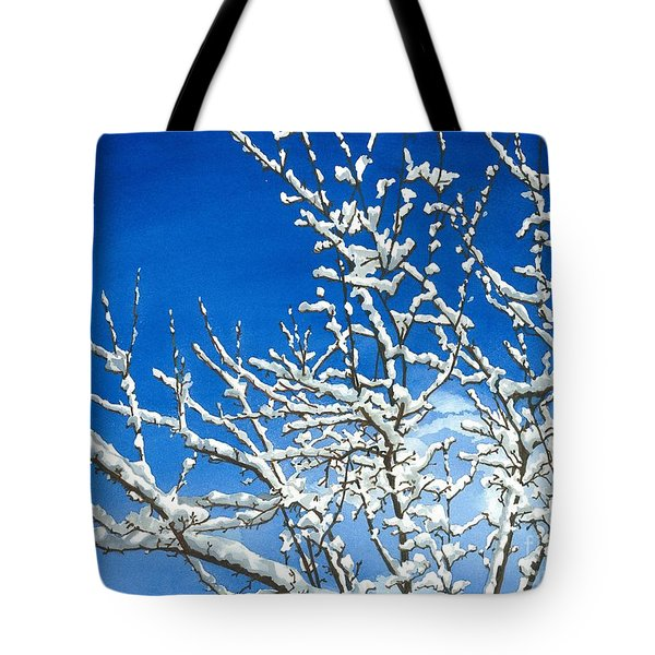 Tote Bag featuring the painting Winter's Artistry by Barbara Jewell