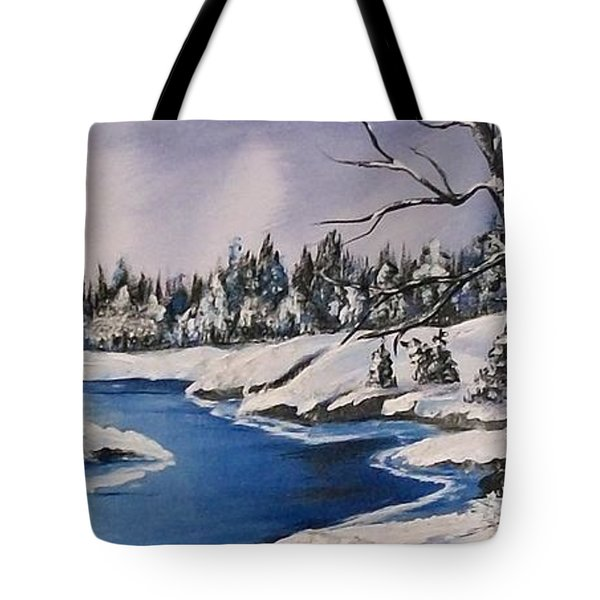 Tote Bag featuring the painting Winter's Blanket by Sharon Duguay
