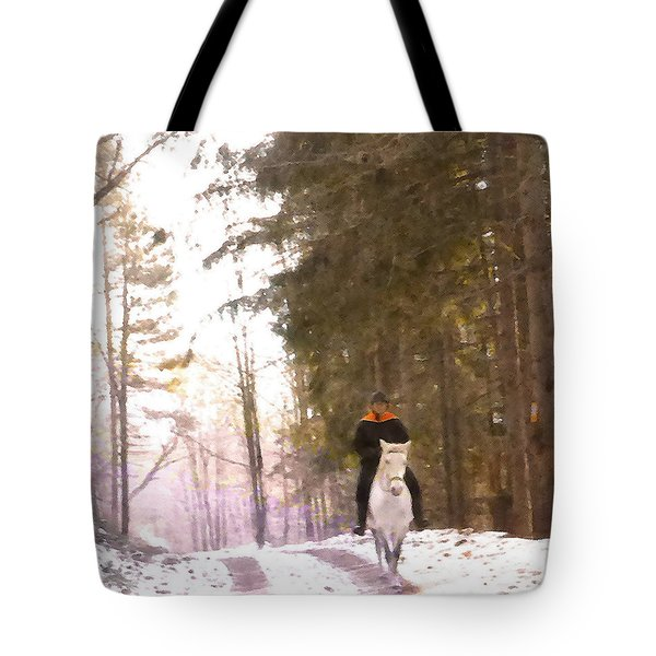 Wintertime Moment-the Chemistry Between Horse And Rider Tote Bag