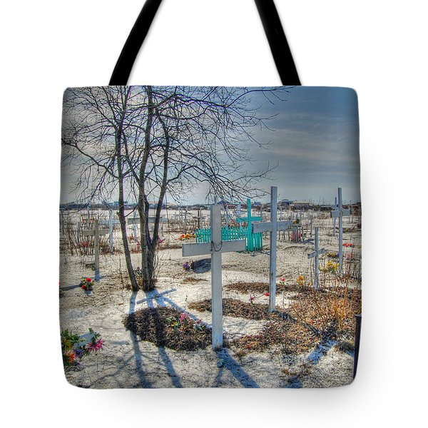 Wintery Grave Tote Bag