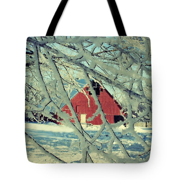 Wintery Red Barn Tote Bag by Julie Hamilton