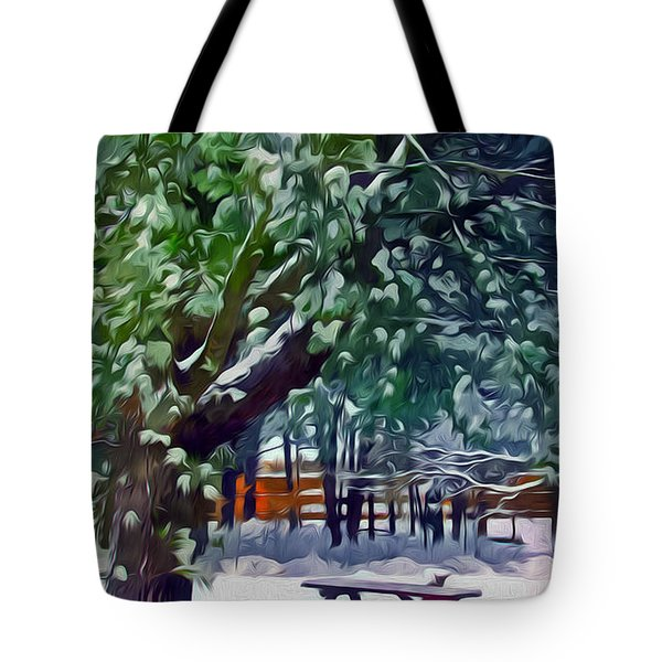 Wintry  Snowy Trees Tote Bag by Lanjee Chee