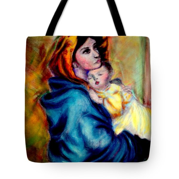 Tote Bag featuring the pastel Mondonna Of The Street By Roberto Ferrizzi, Rendition In Pastel Antonia Citrino,  Sold.        by Antonia Citrino