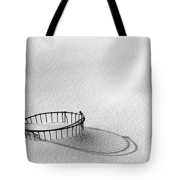 Wire Basket In Snow Tote Bag