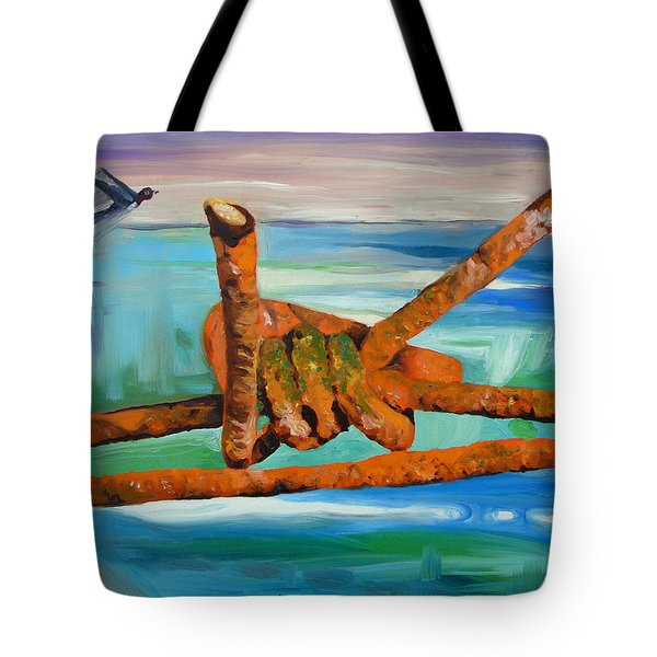 Tote Bag featuring the painting Wire by Daniel Janda