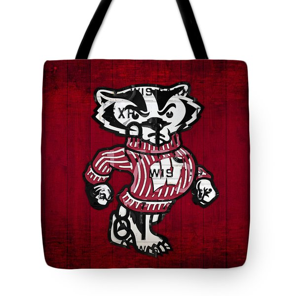 Wisconsin Badgers College Sports Team Retro Vintage Recycled License Plate Art Tote Bag by Design Turnpike