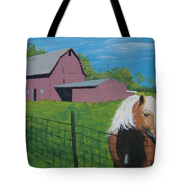 Tote Bag featuring the painting Wisconsin Barn by Norm Starks