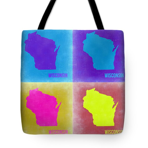 Wisconsin Pop Art Map 3 Tote Bag by Naxart Studio