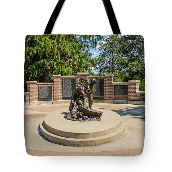 Tote Bag featuring the photograph Wisconsin State Firefighters Memorial 1 by Susan  McMenamin