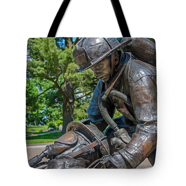 Tote Bag featuring the photograph Wisconsin State Firefighters Memorial 4 by Susan  McMenamin