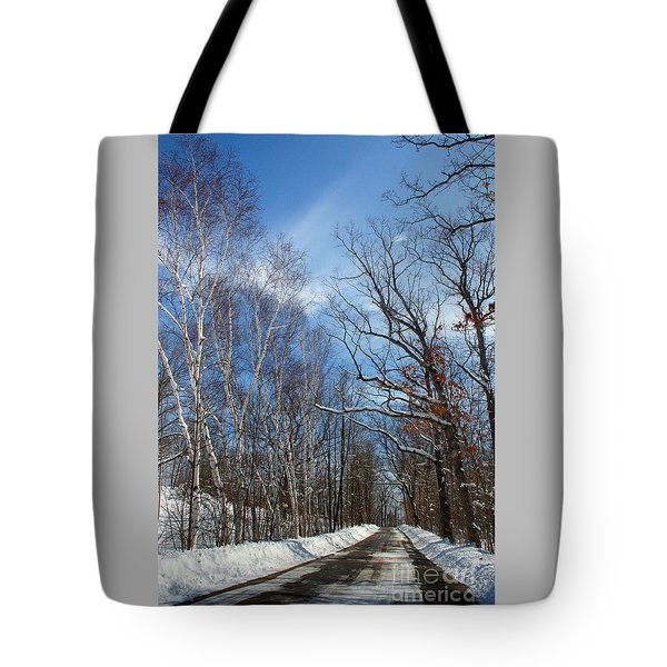 Wisconsin Winter Road Tote Bag