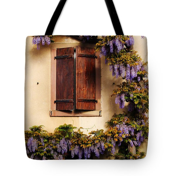 Wisteria Encircling Shutters In Riquewihr France Tote Bag by Greg Matchick