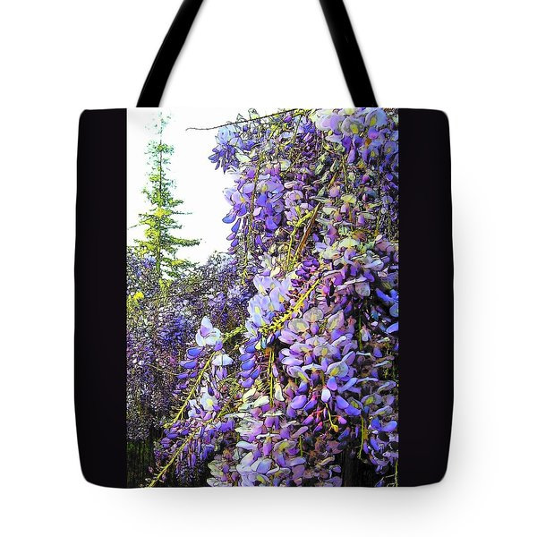Tote Bag featuring the photograph Wisteria - Fun Version 2 by Jodie Marie Anne Richardson Traugott          aka jm-ART