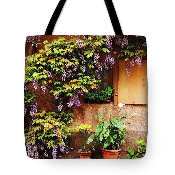 Wisteria On Home In Zellenberg France Tote Bag by Greg Matchick