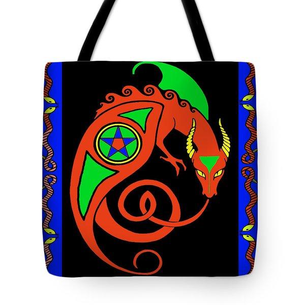 Tote Bag featuring the digital art Witches Dragon by Vagabond Folk Art - Virginia Vivier