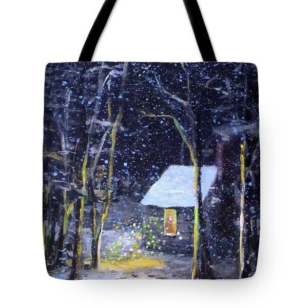 Wintery  Night At Thoreau's Cove Tote Bag by Jack Skinner