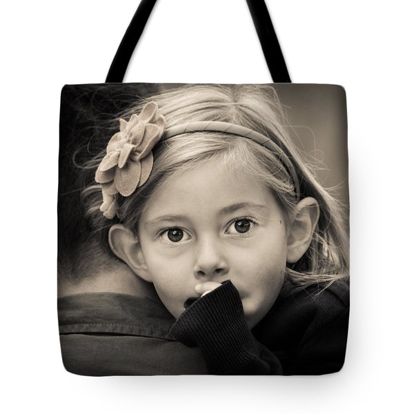 With Dad - B And W Tote Bag
