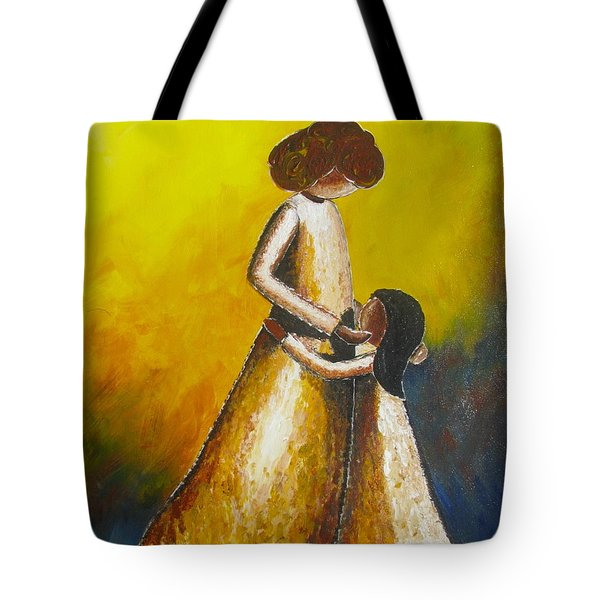 With Her Tote Bag by Jacqueline Athmann