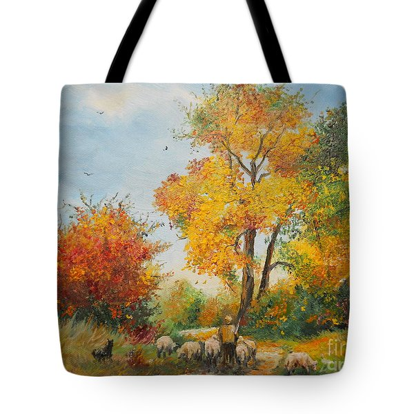 With Sheep On Pasture  Tote Bag by Sorin Apostolescu