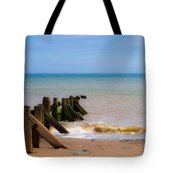 Withernsea Groynes Tote Bag by Scott Lyons