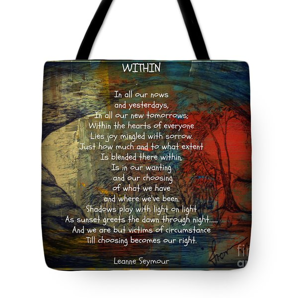 Tote Bag featuring the drawing Within by Leanne Seymour