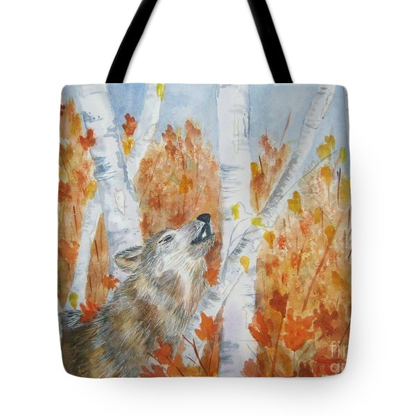 Tote Bag featuring the painting Wolf Call by Ellen Levinson