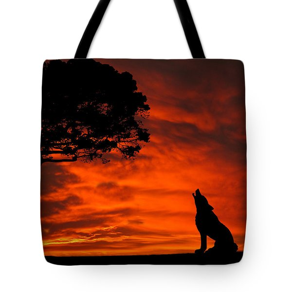 Wolf Calling For Mate Sunset Silhouette Series Tote Bag by David Dehner