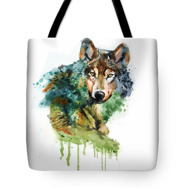 Wolf Face Watercolor Tote Bag