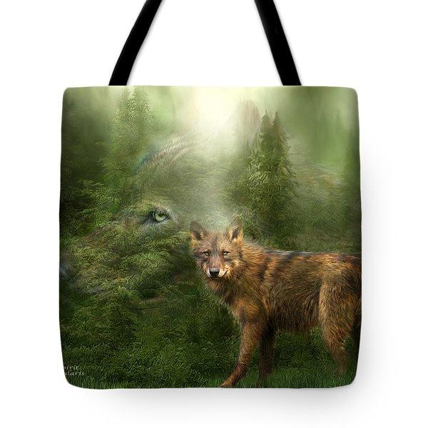 Wolf - Forest Spirit Tote Bag by Carol Cavalaris