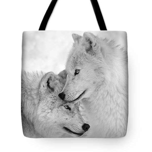 Wolf Love Black And White Tote Bag