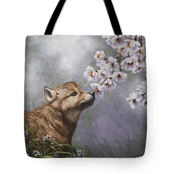 Wolf Pup - Baby Blossoms Tote Bag by Crista Forest