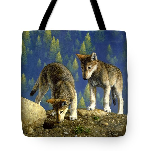 Wolf Pups - Anybody Home Tote Bag by Crista Forest