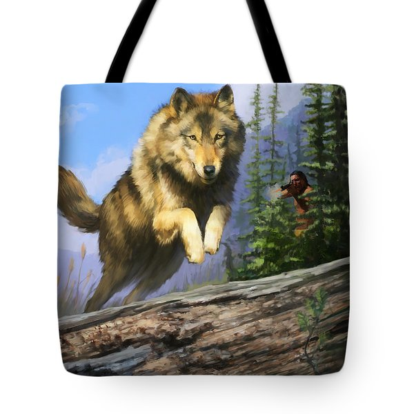 Tote Bag featuring the painting Wolf Run Indian Hunter by Rob Corsetti