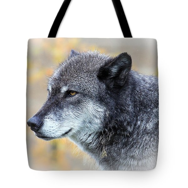 Tote Bag featuring the photograph Wolf by Steve McKinzie