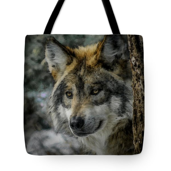 Wolf Upclose Painterly Tote Bag by Ernie Echols