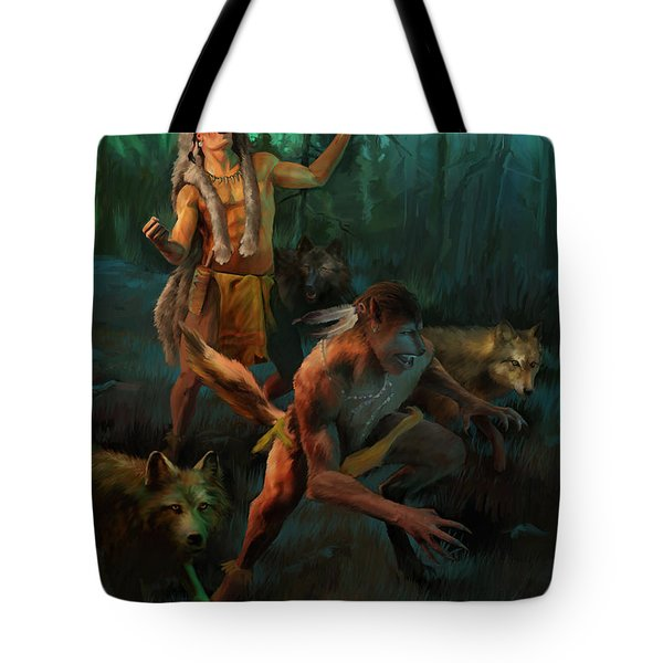 Tote Bag featuring the painting Wolf Warriors Change by Rob Corsetti